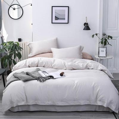 長絨棉60S支全棉紐扣款純色四件套2019新品床單款 1.5m(5英尺)床 貴族白