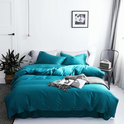 長絨棉60S支全棉紐扣款純色四件套2019新品床單款 1.5m(5英尺)床 幻影藍