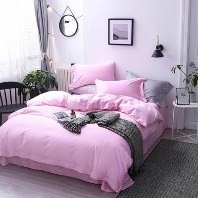 長絨棉60S支全棉紐扣款純色四件套2019新品床單款 1.5m(5英尺)床 蜜桃粉