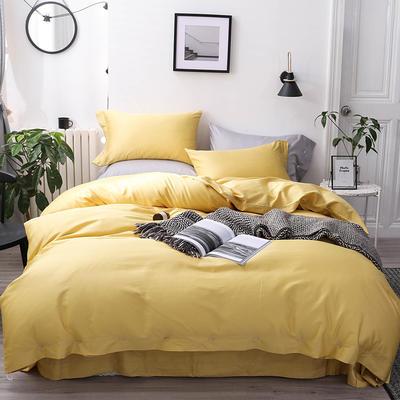 長絨棉60S支全棉紐扣款純色四件套2019新品床單款 1.5m(5英尺)床 土豪金黃