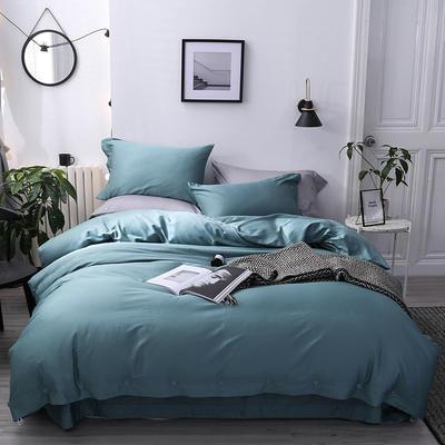長絨棉60S支全棉紐扣款純色四件套2019新品床單款 1.5m(5英尺)床 鉑金藍