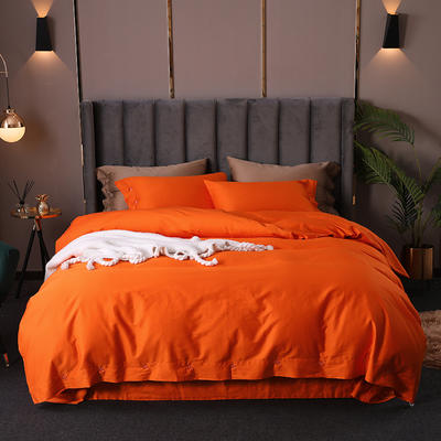 長絨棉60S支全棉紐扣款純色四件套2019新品床單款 1.5m(5英尺)床 愛馬仕橙