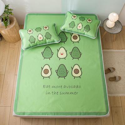 新品上市数码印花冰丝席三件套卡通凉席单双人床空调软席 1.2m(4英尺)床 牛油果