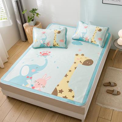 新品上市数码印花冰丝席三件套卡通凉席单双人床空调软席 1.2m(4英尺)床 动物园