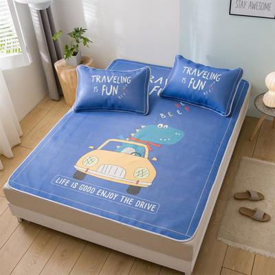 新品上市数码印花冰丝席三件套卡通凉席单双人床空调软席 1.2m(4英尺)床 小恐龙
