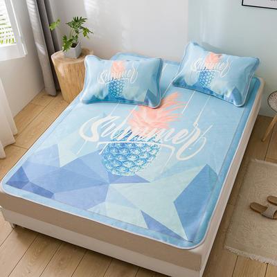 新品上市数码印花冰丝席三件套卡通凉席单双人床空调软席 1.2m(4英尺)床 菠萝