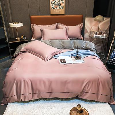 2021新款洛卡棉水洗真丝系列四件套 1.5m床单款四件套 暗粉色