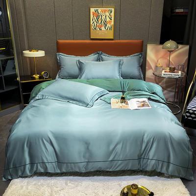 2021新款洛卡棉水洗真丝系列四件套 1.5m床单款四件套 海蓝色
