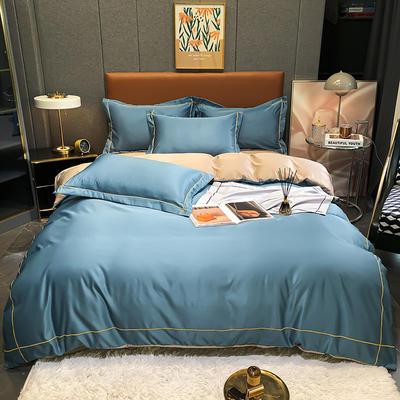 2021新款洛卡棉水洗真丝系列四件套 1.5m床单款四件套 挪威蓝