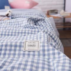 全棉色织水洗棉夏被新疆棉花夏被空调被水洗棉夏被 150x200cm 淡蓝小格
