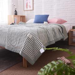 全棉色织水洗棉夏被新疆棉花夏被空调被水洗棉夏被 150x200cm 绿小格