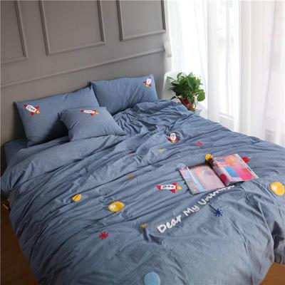 (总)简约全棉色织水洗棉四件套纯棉毛巾绣环游世界绒刺绣裸睡四件套 标准床单款 蓝色环游太空