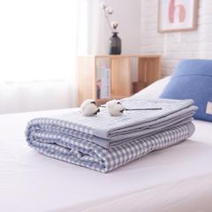 (总)全棉色织水洗棉夏被新疆棉花夏被空调被水洗棉夏被 150x200cm 淡蓝小格