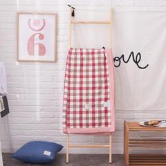 (总)全棉色织水洗棉夏被空调被新疆棉花单双人纯棉夏被 150x200cm 红咖中格