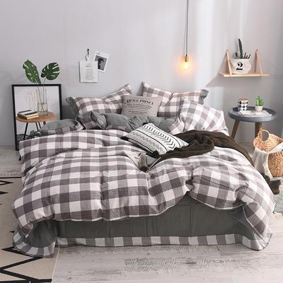 (总)简约全棉色织水洗棉四件套纯棉纽扣款裸睡四件套(实拍图) 1.5m/1.8m标准床单款 淡雅