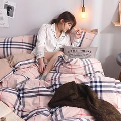 简约全棉色织水洗棉四件套纯棉纽扣款裸睡四件套(模特图) 1.8m(6英尺)床 宝丽