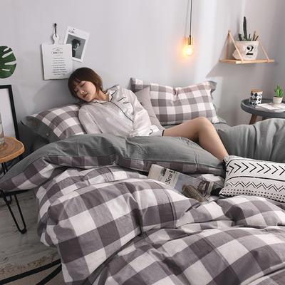 (总)简约全棉色织水洗棉四件套纯棉纽扣款裸睡四件套(模特图) 1.5m/1.8m标准床单款 淡雅