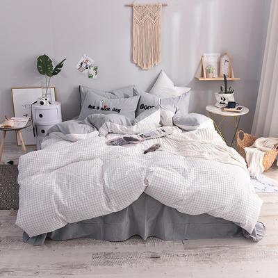 (总)ins全棉色织水洗棉绣花四件套纯棉小清新裸睡四件套(细节图) 1.2m床单款 安然