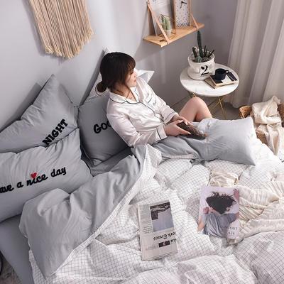 (总)ins全棉色织水洗棉绣花四件套纯棉小清新裸睡四件套(模特图) 1.2m床单款 安然