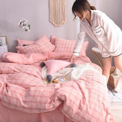 (总)ins全棉色织水洗棉绣花四件套纯棉小清新裸睡四件套(模特图) 1.2m床单款 暖夏