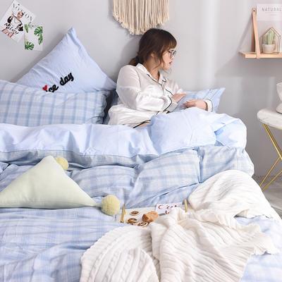 (总)ins全棉色织水洗棉绣花四件套纯棉小清新裸睡四件套(模特图) 1.2m床单款 青涩