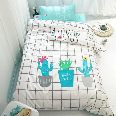 新款纯棉全棉卡通大版单人宿舍0.9m床上下铺学生三件套 床单款三件套 1.2m(4英尺)床 爱上生活