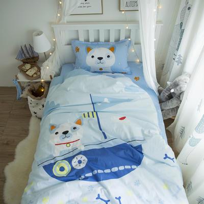 新款纯棉全棉卡通大版单人宿舍0.9m床上下铺学生三件套 床单款三件套 1.2m(4英尺)床 酷狗船长