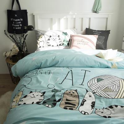 新款纯棉全棉卡通大版单人宿舍0.9m床上下铺学生三件套 床单款三件套 1.2m(4英尺)床 猫家族