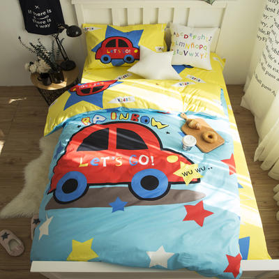 新款纯棉全棉卡通大版单人宿舍0.9m床上下铺学生三件套 床单款三件套 1.2m(4英尺)床 去旅游