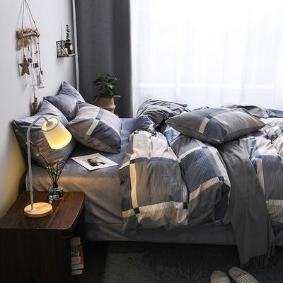 (总)2018秋冬新品棉加绒全棉水晶绒A版纯棉B版水晶绒保暖四件套 1.2m(4英尺)床三件套 慕格时尚