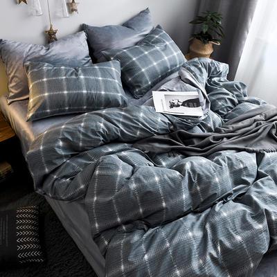 (总)2018秋冬新品棉加绒全棉水晶绒A版纯棉B版水晶绒保暖四件套 1.2m(4英尺)床三件套 夜曲