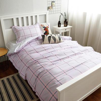 (总)全棉13372简约小清新学生宿舍床品单人床单款三件套 1.2m床 床单1.6 时间轨迹