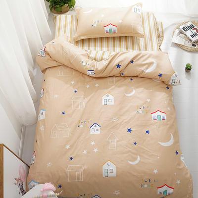 (总)全棉13372简约小清新学生宿舍床品单人床单款三件套 1.2m床 床单1.6 童话镇