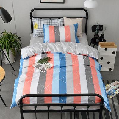 (总)全棉13372简约小清新学生宿舍床品单人床单款三件套 1.2m床 床单1.6 午后时光