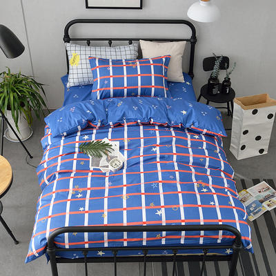 (总)全棉13372简约小清新学生宿舍床品单人床单款三件套 1.2m床 床单1.6 星空遐想