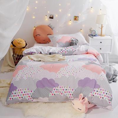 (总)全棉13372简约小清新学生宿舍床品单人床单款三件套 1.2m床 床单1.6 云朵空间