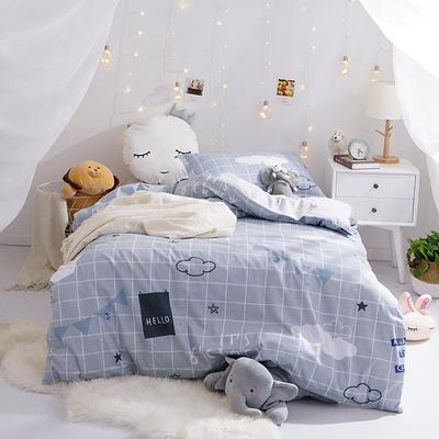 (总)全棉13372简约小清新学生宿舍床品单人床单款三件套 1.2m床 床单1.6 早安