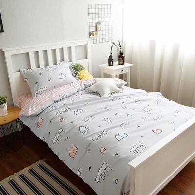(小清新系列)新款学生宿舍床品全棉13372简约单人床单款三件套 1.2m床床单1.6 莱茵小镇