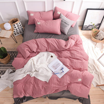 (总)日式全棉32支色织水洗棉四件套简约格子条纹全棉色织水洗棉四件套 1.2m床单款 红细条