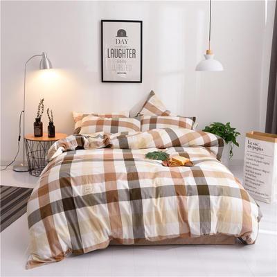 (总)日式全棉32支色织水洗棉四件套简约格子条纹全棉色织水洗棉四件套 1.2m床单款 咖彩格