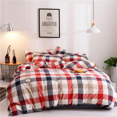 (总)日式全棉32支色织水洗棉四件套简约格子条纹全棉色织水洗棉四件套 1.2m床单款 蓝红彩格