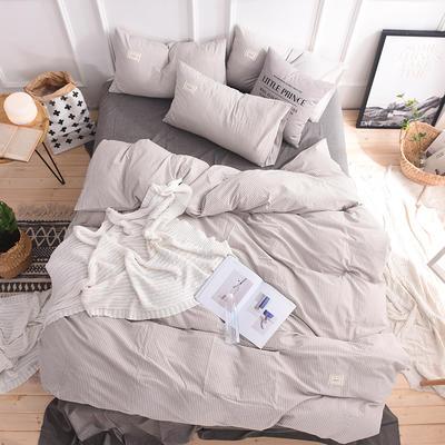 (总)日式全棉32支色织水洗棉四件套简约格子条纹全棉色织水洗棉四件套 1.2m床单款 米细条