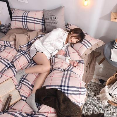 (总)简约全棉色织水洗棉四件套纯棉纽扣款裸睡四件套(模特图) 1.5m/1.8m标准床单款 宝丽