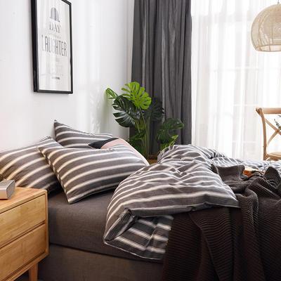 (总)日式全棉32支色织水洗棉四件套简约格子条纹全棉色织水洗棉四件套 1.2m床单款 深灰宽条