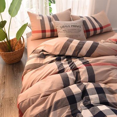 (总)日式全棉32支色织水洗棉四件套简约格子条纹全棉色织水洗棉四件套 1.2m床单款 英伦大格