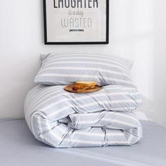 (总)日式全棉32支色织水洗棉四件套简约格子条纹全棉色织水洗棉四件套 1.2m床单款 水蓝宽条