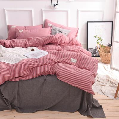 (总)全棉色织水洗棉日式简约格子纯棉网红民宿床品宿舍纯色四件套 1.2m床单款 红细条
