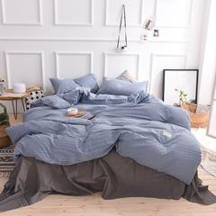 (总)日式全棉32支色织水洗棉四件套简约格子条纹全棉色织水洗棉四件套 1.5m标准床笠款 蓝细条