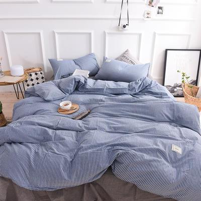(总)全棉色织水洗棉日式简约格子纯棉网红民宿床品宿舍纯色四件套 1.2m床单款 蓝细条