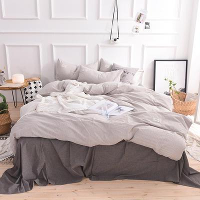 (总)全棉色织水洗棉日式简约格子纯棉网红民宿床品宿舍纯色四件套 1.2m床单款 米细条